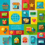 Background with internet shopping icons in flat design style. — Stock Vector