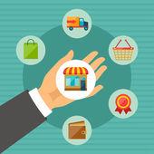Internet shopping koncept illustration. — Stockvektor