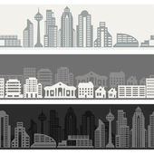 Cityscape seamless horizontal banners with buildings. — Stock Vector