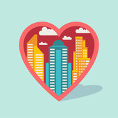 Cityscape background with buildings in shape of heart. — Stok Vektör