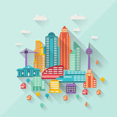 Cityscape illustration with buildings in flat design style. — Stock Vector