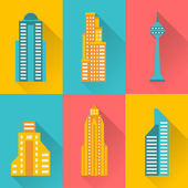 Cityscape icon set of buildings. — Stock Vector