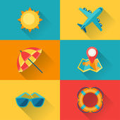 Travel and tourism icon set in flat design style. — Stock Vector