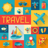 Travel and tourism background in flat design style. — Stock Vector