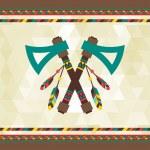 Ethnic background with tomahawk in navajo design. — Stock Vector