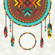 Stock Vector: Ethnic background with dreamcatcher in navajo design.