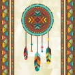 ストックベクタ: Ethnic background with dreamcatcher in navajo design.
