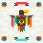 Ethnic background with eagle in navajo design. — Vecteur