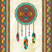 Ethnic background with dreamcatcher in navajo design. — Stock Vector