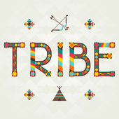 Tribe. Design word with ornament. — Vector de stock