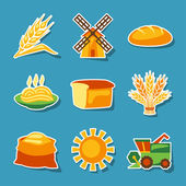 Cereal cultivation and farming sticker icon set. — Stock Vector