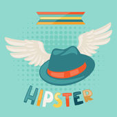 Design with hat and wings in hipster style. — Stockvector