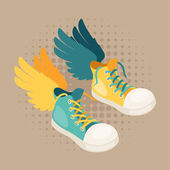 Design with sneakers and wings in hipster style. — Stockvector