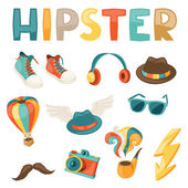 Hipster style elements and objects set. — Stock Vector