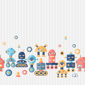 Seamless robots pattern in flat style. — Stock Vector