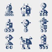 Set of robots in flat style. — Stock Vector