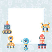 Background with robot in flat style. — Stock Vector