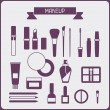 Set of cosmetics icons in flat style. — Stock Vector #42648927