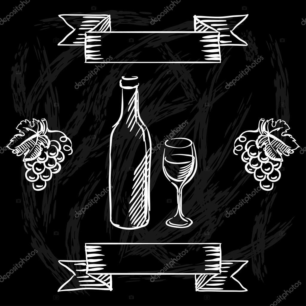 Restaurante o bar carta de vinos en el fondo de la pizarra for Pizarra para bar