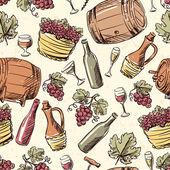 Wine vintage hand drawn seamless pattern. — Stock Vector