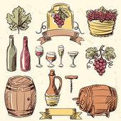 Wine vintage hand drawn set. — ストックベクタ