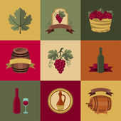 Set of objects, icons for wine and restaurants. — Vecteur