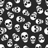 Seamless pattern with skulls. — Stockvector