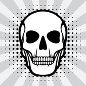 Illustration of skull on pop art background. — 图库矢量图片