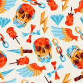 Seamless background with skull and elements. — Vector de stock