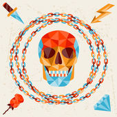 Card with colored geometric skull. — Stockvektor