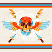 Card with colored geometric skull. — Stockvector