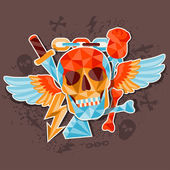 Card with colored geometric skull. — Stock vektor