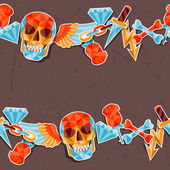 Seamless background with skull and elements. — ストックベクタ