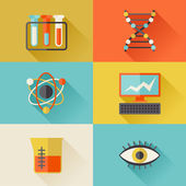 Science icons in flat design style. — Stockvector