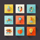 Icone di scienza in stile design piatto. — Vettoriale Stock
