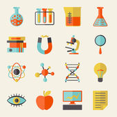 Science icons in flat design style. — Stok Vektör