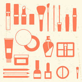 Set of cosmetics icons in flat style. — Stock vektor