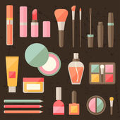 Set of colored cosmetics icons in flat style. — Stock Vector