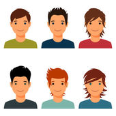 Set of cute young boys with various hair style. — Stock Vector
