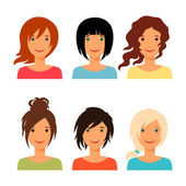 Set of beautiful young girls with various hair style. — Stock Vector