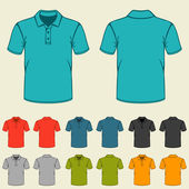 Set of templates colored polo shirts for men. — Stock Vector