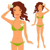 Illustration of young cute girl in swimsuit. — Stock Vector
