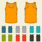 Set of templates colored singlets for men. — Stock Vector