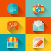 Social media concept illustration in flat design style. — Stock Vector