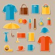 Icon set of promotional gifts and souvenirs. — Vecteur