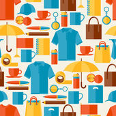Seamless pattern with promotional gifts and souvenirs. — Vector de stock
