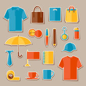 Icon set of promotional gifts and souvenirs. — Vector de stock
