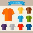 T-shirts colored templates for your design in flat style. — Stock Vector