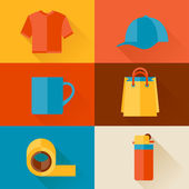 Advertising background with promotional gifts and souvenirs. — Vector de stock