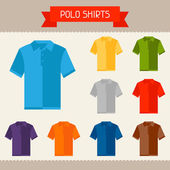 Polo shirts colored templates for your design in flat style. — Stock Vector